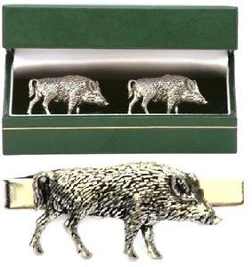 【送料無料】メンズアクセサリ― カフスボタンタイクリップバースライドメンズハンティングセットwild boar hog cufflinks amp; tie clip bar slide mens set shooting hunting gift