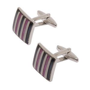 【送料無料】メンズアクセサリ― プレゼンテーションボックスストライプスクエアカフリンクスsophos purple stripe square cufflinks in presentation gift box