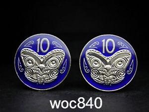 【送料無料】メンズアクセサリ― ニュージーランドエナメルコインカフリンクスマオリマスク zealand enamelled coin cufflinks maori mask koruru