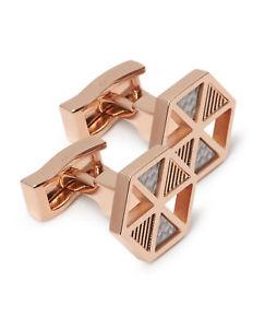 【送料無料】メンズアクセサリ― ローズゴールドカフリンクスtmlewin rose gold hexagon cufflinks