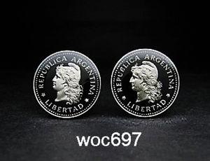 【送料無料】メンズアクセサリ― アルゼンチンコインカフスボタンキャップリバティーヘッドargentina coin cufflinks 20 centavos capped liberty head