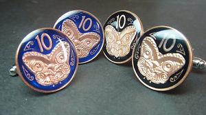 【送料無料】メンズアクセサリ― ニュージーランドエナメルコインカフリンクスマオリマスクスモールサイズ zealand enamelled coin cufflinks maori mask koruru 2006 small size