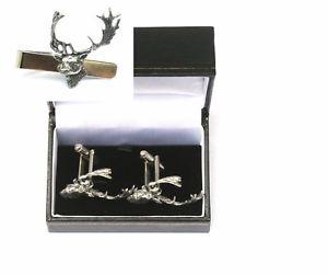 【送料無料】メンズアクセサリ― ヘッドカフスボタンタイクリップバースライドハンティングセットfallow head cufflinks amp; tie clip bar slide set hunting gift