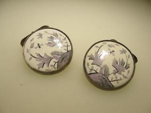 【送料無料】メンズアクセサリ― ビンテージスターリングシルバーホワイトガラスラベンダーハンドペイントカフリンクスvintage sterling silver white glass lavender hand paint flower insect cuff links