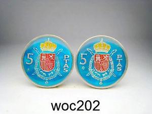 【送料無料】メンズアクセサリ― スペインエナメルコインカフスボタンパターンペセタspain enamelled coin cufflinks 5 pesetas choice of pattern