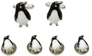 【送料無料】メンズアクセサリ― ボックスペンギンカフスボタンシャツスタッドpenguin cufflinks and shirt stud set  in gift box