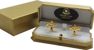 【送料無料】メンズアクセサリ― ゴールドケースコンパスカフスボタンセットfreemason gold cufflinks quality masonic luxury gift set in case compass no g