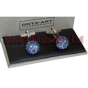 【送料無料】メンズアクセサリ― スワロフスキーサファイアクリスタルボールカフスボタンクリアオニキスアートレディースswarovski sapphire clear crystal ball cufflinks onyx art gift boxed ladies