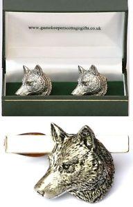 【送料無料】メンズアクセサリ― オオカミカフスボタンタイクリップバースライドメンズセットwolf head cufflinks amp; tie clip bar slide mens gift set wild dog hunting present