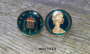 送料無料 メンズアクセサリ― エナメルコインペニーカフリンクスbritish enamelled coin cufflinks onepennybirth or anniversary yearvYIgybf67