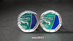【送料無料】メンズアクセサリ― エナメルコインカフスボタンペンスカフライオンbritish enamelled coin cufflinks 20 pence cuffs lion