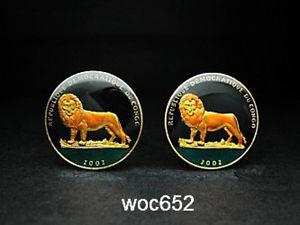 【送料無料】メンズアクセサリ― コンゴコインカフスボタンライオンcongo coin cufflinks lion