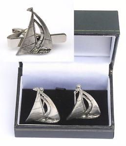 【送料無料】メンズアクセサリ― ヨットカフスボタンタイクリップバーセーリングスライドセットyacht cufflinks amp; tie clip bar slide set sailing gift