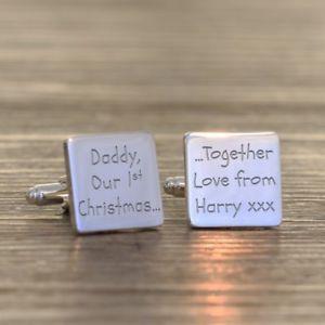 【送料無料】メンズアクセサリ― クリスマスパーソナライズカフリンクスdaddy our 1st christmas personalised cufflinks