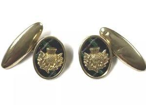 【送料無料】メンズアクセサリ― ビンテージゴールドスコットランドタータンチェックシスルカフスボタンボックスvintage gold gilt metal scottish tartan thistle cufflinks gift boxed