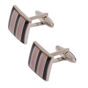 【送料無料】メンズアクセサリ― プレゼンテーションボックスピンクストライプスクエアカフリンクスsophos pink stripe square cufflinks in presentation gift box
