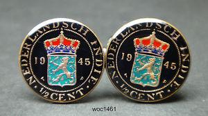 【送料無料】メンズアクセサリ― オランダインドコインセントカフリンクスnetherlands east indies coin cufflinks 12 cent