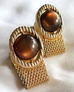 【送料無料】メンズアクセサリ― ビンテージメッシュゴールドラップトーンカフスボタンカボショントイレvintage swank mesh wrap around goldtone cufflinks amber colour cabochons wc34