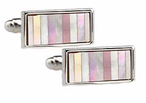 【送料無料】メンズアクセサリ― ピンクカフリンクスパールストライプメンズカフスボタンpink mother of pearl striped rectangle mens gift cufflinks by cufflinksdirect