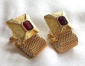 【送料無料】メンズアクセサリ― ビンテージメッシュゴールドラップトーントイレセットカフリンクスvintage mesh wrap around goldtone cufflinks set with ruby rhinestones wc39