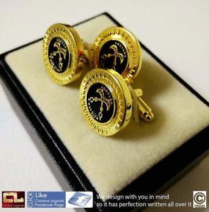 【送料無料】メンズアクセサリ― ガーナロイヤリティピンゴールドスターカフリンクスghana akofena heroism royalty adinkra cufflinks with extra pin gold star effect