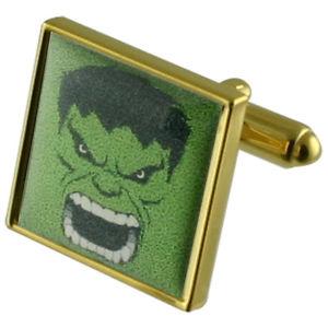 【送料無料】メンズアクセサリ― カフスリンクgreen hulk gold square cufflinks with select gifts pouch