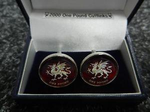 【送料無料】メンズアクセサリ― エナメルウェールズドラゴンポンドコインカフリンクスenamel welsh dragon one pound coin cufflinks