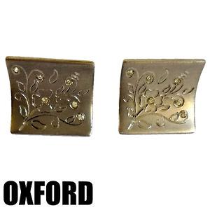 【送料無料】メンズアクセサリ― カフリンクスビンテージオックスフォードcuff links vintage oxford silver rhinestones crystals engraved brushed floral