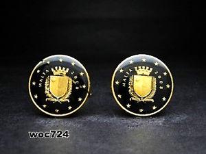 【送料無料】メンズアクセサリ― マルタエナメルコインカフスボタンユーロセントmalta enamelled coin cufflinks euro coin 10 cent