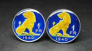 【送料無料】メンズアクセサリ― ベルギーエナメルコインフランライオンカフリンクス1940 belgium enamelled coin cufflinks franc lion