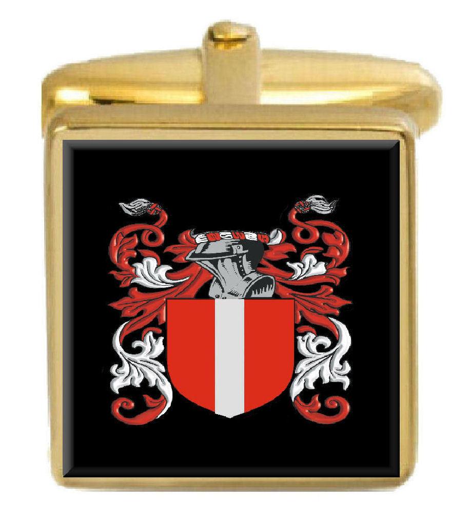 【送料無料】メンズアクセサリ― アイルランドカフスボタンボックスコートmccarten ireland family crest surname coat of arms gold cufflinks engraved box