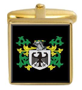 【送料無料】メンズアクセサリ― イギリスカフスボタンボックスコートyeamans england family crest surname coat of arms gold cufflinks engraved box