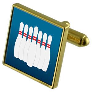 【送料無料】メンズアクセサリ― ボウリングピンカフスボタンクリスタルタイクリップセットbowling pins goldtone cufflinks crystal tie clip gift set