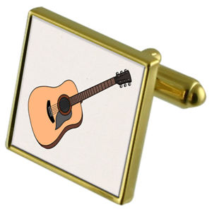 【送料無料】メンズアクセサリ― アコースティックギターカフスボタンクリスタルタイクリップセットacoustic guitar goldtone cufflinks crystal tie clip gift set