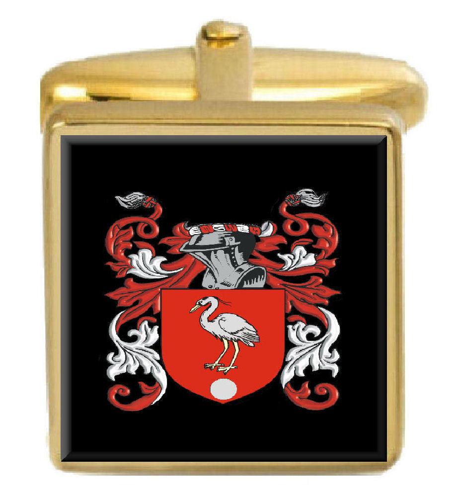 【送料無料】メンズアクセサリ― イギリスカフスボタンボックスコートcrestborne england family crest surname coat of arms gold cufflinks engraved box