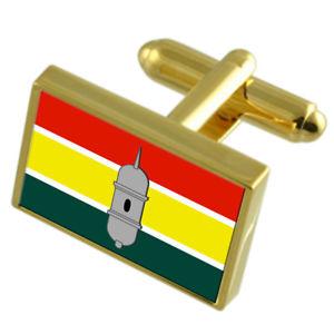 【送料無料】メンズアクセサリ― ブラジルゴールドフラッグカフスボタンボックスmacapa city brazil gold flag cufflinks engraved box