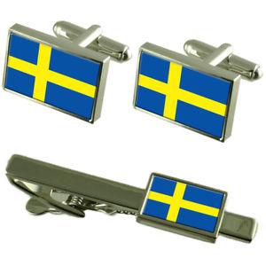 【送料無料】メンズアクセサリ― スウェーデンカフスボタンタイクリップマッチングボックスセットsweden flag cufflinks tie clip matching box gift set