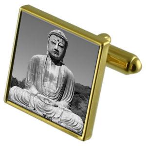 【送料無料】メンズアクセサリ― カフスボタンクリスタルタイクリップセットgreat budha goldtone cufflinks crystal tie clip gift set