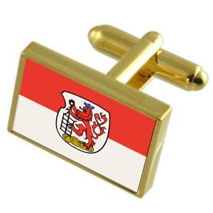 【送料無料】メンズアクセサリ― ヴッパータールドイツゴールドフラッグカフスボタンボックスwuppertal city germany gold flag cufflinks engraved box