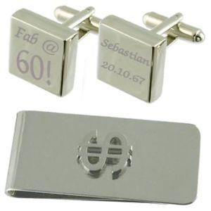 【送料無料】メンズアクセサリ― ファブスクエアカフスボタンドルマネークリップセットfab 60 engraved square cufflinks dollar money clip gift set