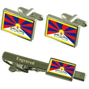 【送料無料】メンズアクセサリ― チベットカフスボタンタイクリップマッチングボックスtibet flag cufflinks engraved tie clip matching box set