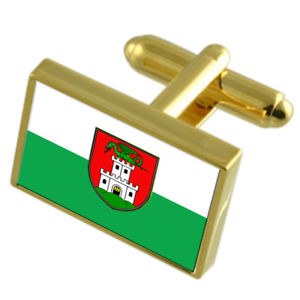 【送料無料】メンズアクセサリ― リュブリャナスロベニアゴールドフラッグカフスボタンボックスljubljana city slovenia gold flag cufflinks engraved box