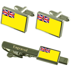 【送料無料】メンズアクセサリ― ニウエカフスボタンタイクリップマッチングボックスniue flag cufflinks engraved tie clip matching box set