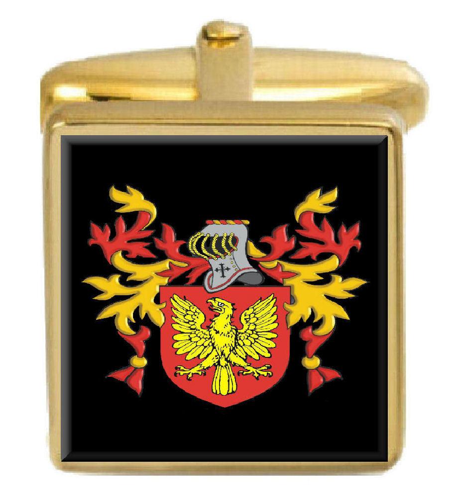 【送料無料】メンズアクセサリ― アイルランドカフスボタンボックスコートmulalley ireland family crest surname coat of arms gold cufflinks engraved box
