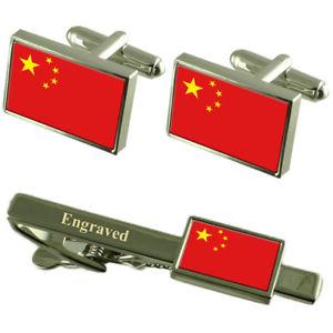 【送料無料】メンズアクセサリ― カフスボタンタイクリップマッチングボックスchina flag cufflinks engraved tie clip matching box set