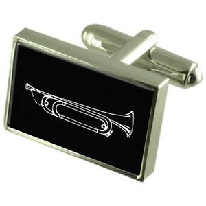 【送料無料】メンズアクセサリ― カフスボタンクリスタルタイクリップバーボックスbugle cufflinks crystal tie clip bar box set engraved