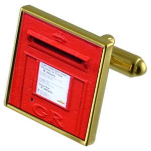 【送料無料】メンズアクセサリ― ポストカフスボタンクリスタルタイクリップセットred letter post box goldtone cufflinks crystal tie clip gift set