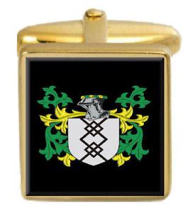 【送料無料】メンズアクセサリ― スコットランドカフスボタンボックスファミリークレストコートmcloughlin scotland family crest coat of arms gold cufflinks engraved box