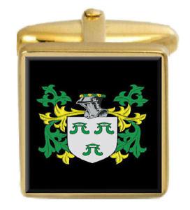 【送料無料】メンズアクセサリ― カフスボタンボックスコートungoed wales family crest surname coat of arms gold cufflinks engraved box