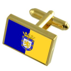【送料無料】メンズアクセサリ― サンティアゴチリゴールドフラッグカフスボタンボックスsantiago city chile gold flag cufflinks engraved box
